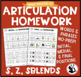 Articulation Homework for /s/, /z/,  and sblends/ Word and Phrase Levels