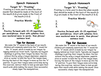 Articulation Homework /k/ and /g/