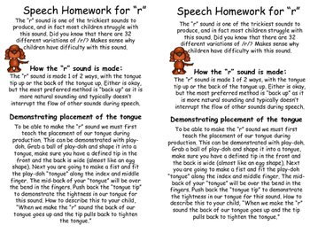 Articulation Homework /r/