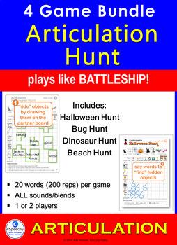 Articulation Hunt: 4 Game BUNDLE: like Battleship