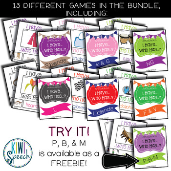 Articulation I Have Who Has Game: BUNDLE