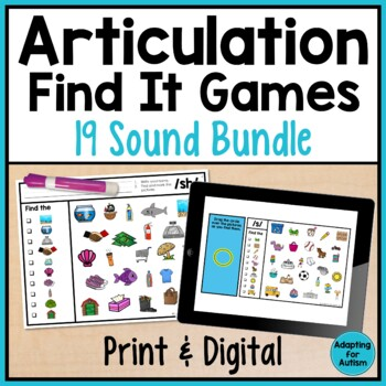 Articulation Games for Speech Therapy: Find It BUNDLE of 19 sounds