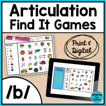 Articulation Activity: /b/ Find It Speech Therapy Game