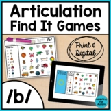 Articulation Activity: /b/ Find It Speech Therapy Games