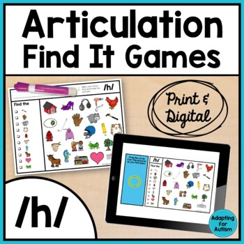 Articulation Activity: /h/ Find It Speech Therapy Game