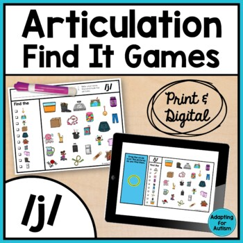 Articulation Activity: /j/ Find It Speech Therapy Game