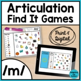 Articulation Activity: /m/ Find It Speech Therapy Games