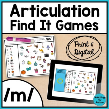 Articulation Game: /m/ I Spy adapted with 3 levels (Speech