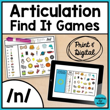Articulation Activity: /n/ Find It Speech Therapy Game