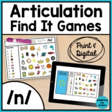 Articulation Activity: /n/ Find It Speech Therapy Games