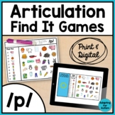 Articulation Activity: /p/ Find It Speech Therapy Games