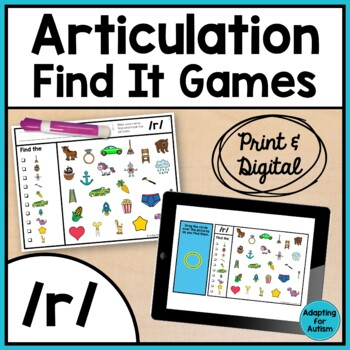 Articulation Game: /r/ I Spy adapted with 3 levels (Speech