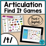 Articulation Activity: /t/ Find It Speech Therapy Games