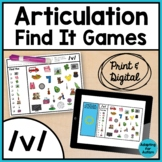 Articulation Activity: /v/ Find It Speech Therapy Games