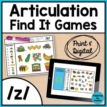Articulation Activity: /z/ Find It Speech Therapy Game