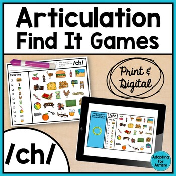 Articulation Activity: /ch/ Find It Speech Therapy Game