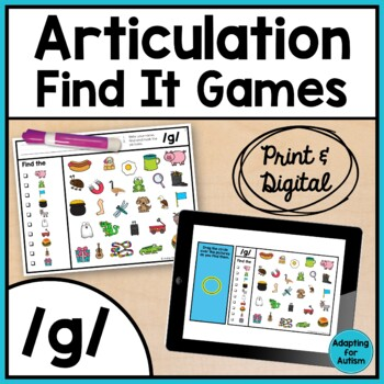 Articulation Activity: /g/ Find It Speech Therapy Game