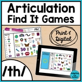 Articulation Activity: /th/ Find It Speech Therapy Games