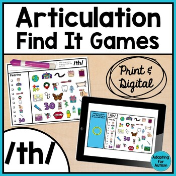 Articulation Game: /th/ I Spy adapted with 3 levels (Speec