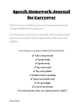 Articulation & Intelligibility Carryover Homework Journal