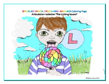 Articulation Isolation - /L/ - Licking Sound Coloring Page - Phonology