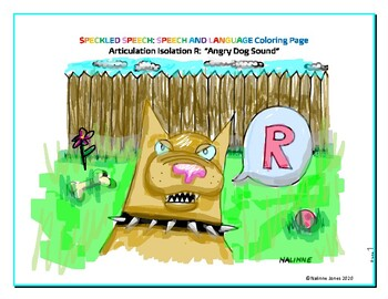 Articulation Isolation - /R/ - Growling Dog Sound Coloring Page - Phonology