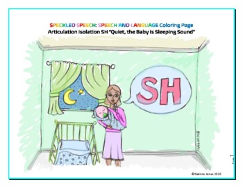 Articulation Isolation - /SH/ - Quiet Sound Coloring Page - Phonology