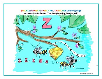 Articulation Isolation - /Z/ - Buzzing Bee Sound Coloring Page - Phonology