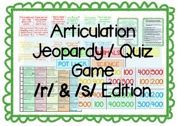 Articulation Jeopardy / Quiz game for Speech Therapy /r/ & /s/