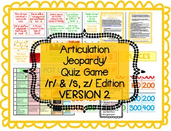 Articulation Jeopardy - /r/ & /s, z/ edition -- VERSION 2 -- for Speech Therapy
