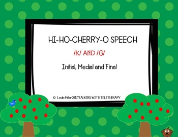 Articulation- K and G Initial, Medial and Final Position for Hi Ho Cherry O Game