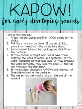 Articulation KAPOW! For Early Developing Sounds