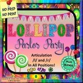BUNDLE Articulation L and R Plus Blends Lollipop Parlor Party Teletherapy