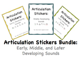 Articulation Stickers Bundle: Early, Middle, and Later Developing Sounds