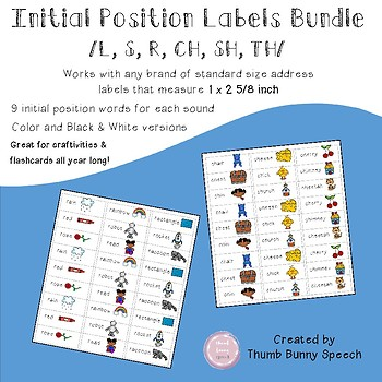 Articulation Labels Bundle - for craftivities and flashcards
