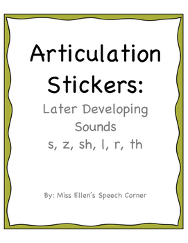 Articulation Stickers: Later Developing Sounds