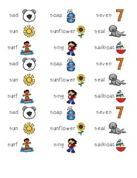Articulation Labels S Initial Position - for use with craftivities & flashcards