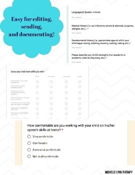 Articulation & Language DIGITAL Parent Input Forms