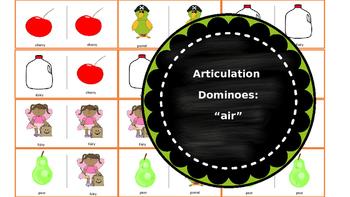 """Articulation & Language Dominoes: """"air"""" Picture Stimuli"""