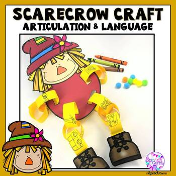 Fall Scarecrow Articulation and Language Craft for Speech Language Therapy