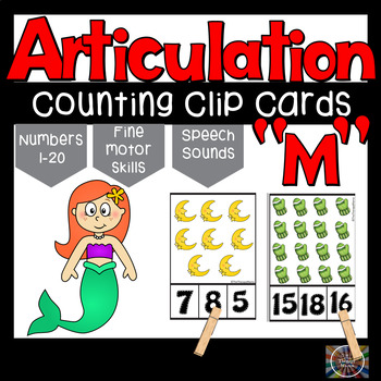 Articulation Letter M Speech Sounds Clothespin Counting Clip Cards Numbers 1 20