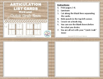 "Articulation List Cards ""Quick Grab"" Item! (Word Level)"