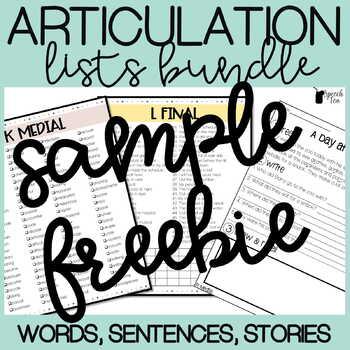 Articulation Lists - /s/ FREEBIE