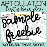 Articulation Lists - /s/ FREEBIE (words, sentences, and stories)