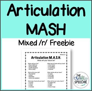 Articulation MASH Mixed /r/ Freebie!