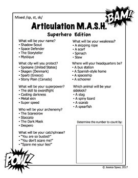 Articulation MASH: Superhero Edition (Consonant Clusters)