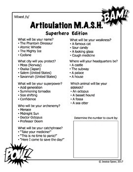 Articulation MASH: Superhero Edition (Mixed /s/-clusters freebie)