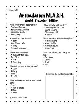 Articulation MASH: World Traveler Edition (Earlier-Developing Sounds)