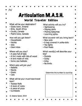 Articulation MASH: World Traveler Edition (/ts/ freebie)