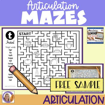Articulation Mazes- FREE Sample!